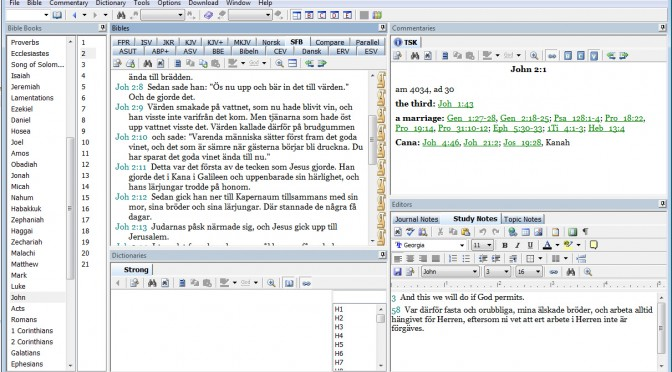 e-Sword 10:lle 13 käännöksen lisäpaketti, suomi ruotsi norja tanska  ja englanti, ilmaiseksi.