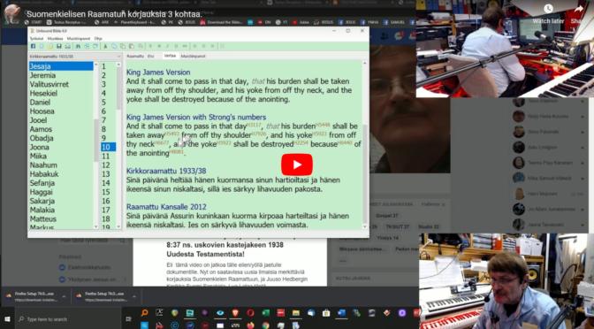 Suomenkielisen Raamatun korjauksia 3 kohtaa lyhyellä videolla