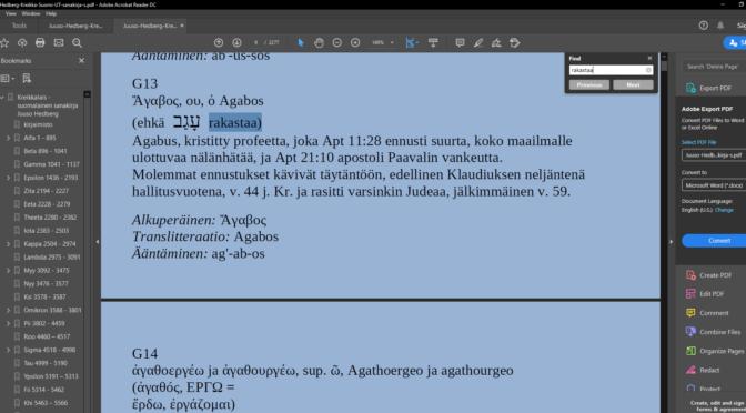 Juuso Hedberg Kreikkalais-suomalainen Uuden Testamentin sanakirja PDF