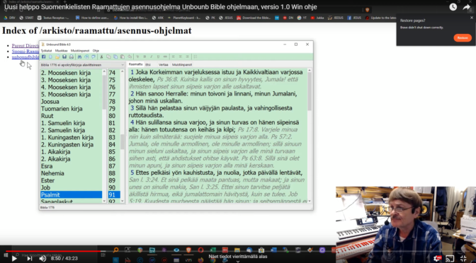 Uusi helppo ja nopea suomenkielisten Raamattujen asennus Unbound Bible Raamattuohjelmaan Windowsille