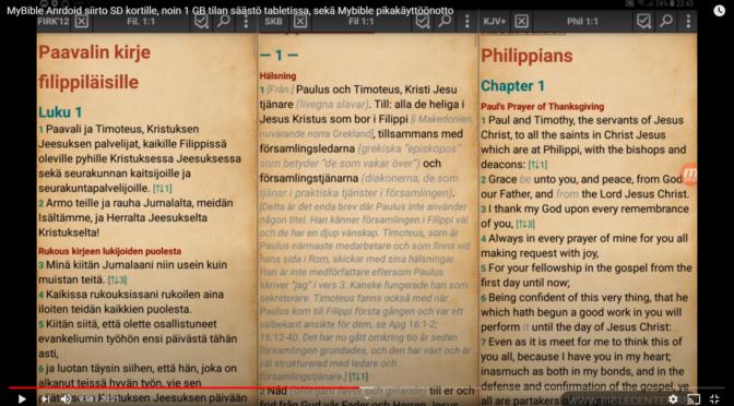 MyBible Android Raamattuohjelman siirto SD kortille ja pikakäyttöönotto