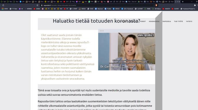 TOTUUS KORONASTA VIDEOT RAPSODIA JA TILAA 150 KPL ILMASIA KORONAKORTTEJA