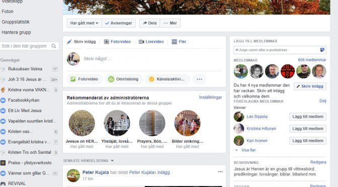 Du är välkommen vår Facebook grupp Jesus är Herren!